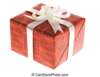 Giftbox - Close-up of red giftbox over white background