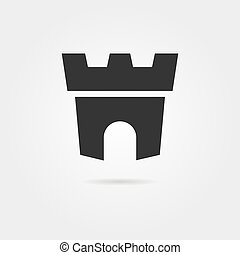 black fortress icon with shadow. concept of company mark,...