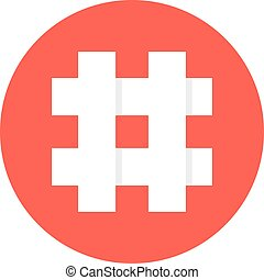 white hashtag in red circle. concept of social media, micro...