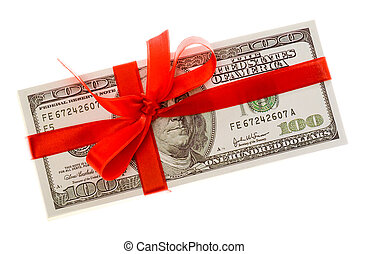 Dollars with red bow - Photo of pack of dollars decorated...