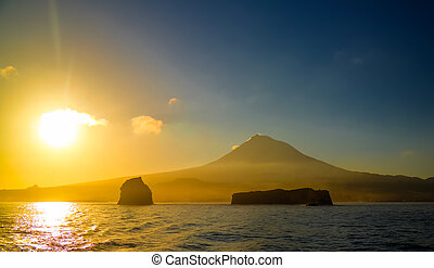 Sunrise over Pico volcano and island, Azores, Portugal