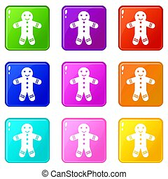 Gingerbread man set 9 - Gingerbread man icons of 9 color set...