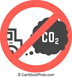 sign prohibiting emissions carbon dioxide. concept of...
