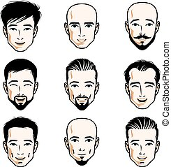 Collection of Caucasian men faces expressing different...