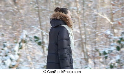 woman walking in winter park - woman walking in showy winter...