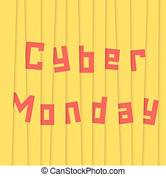 cyber monday with yellow stripes. concept of black friday...