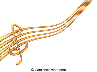 3d gold stave on a white background