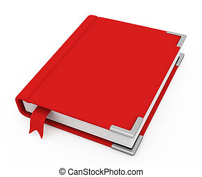 3d book with a blank cover on a white background