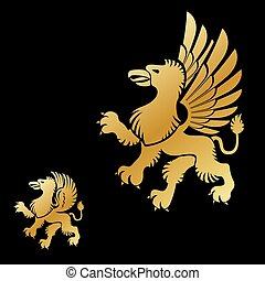 Winged Gryphon, mythical animal ancient emblems elements...