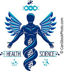 Vector graphic illustration of strong male depicted as DNA...
