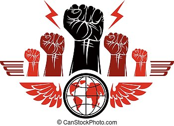 Clenched fists of angry people winged vector emblem composed...
