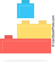 colored building block toy with shadow. concept of edifice,...