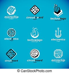 Technology innovation logos. Set of vector abstract computer...