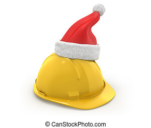 Yellow helmet with santa claus hat on top isolated on white...