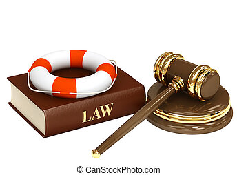 Legal aid. Hammer, book and lifebuoy