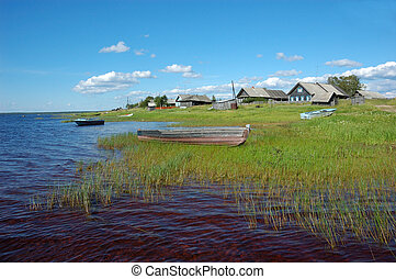 Northern russian village by the lake