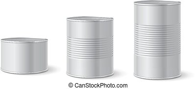 Canned metal packaging. Aluminum tin can for food. Realistic...