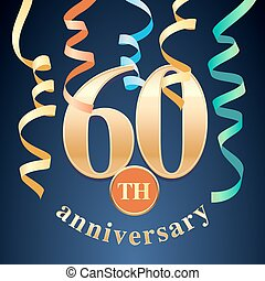 60 years anniversary celebration vector icon, logo. Template...