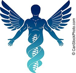 Vector graphic illustration of strong male made as DNA...