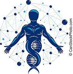 Athletic man vector illustration made using DNA symbol and...
