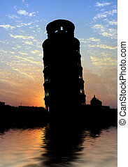Pisa Tower silhouette on water with reflection during sunset