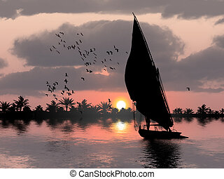 Felucca on the Nile with birds and palm trees in the...
