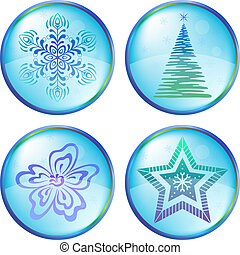Christmas icons buttons - Christmas button icon, vector...