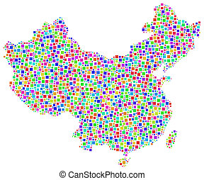 Map of China - The mesh is composed of individually coloured...
