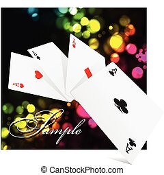 Four aces over colorful clubs background
