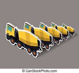 Yellow concrete mixers in isometric. Five concrete mixers in...