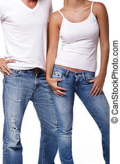 Sexy young couple. Isolated over white background.