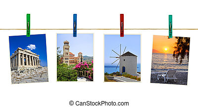 Greece photography on clothespins isolated on white...