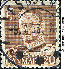 King Christian X - DENMARK - CIRCA 1939: A stamp printed in...