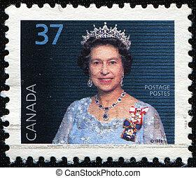 Queen Elizabeth II - CANADA - CIRCA 1988: A stamp printed in...