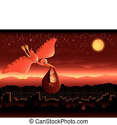 Illustration of a stork delivering a baby over a beautiful cityscape at night.