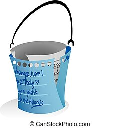 Illustration of note papers forming a 'bucket' to symbolize...