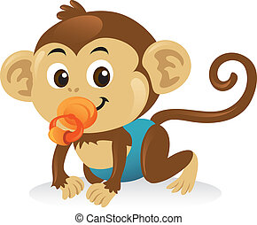 Cute baby monkey with a pacifier in a crawling pose