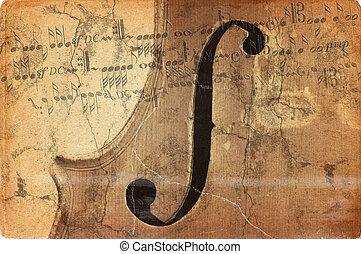 grunge music background with old fiddle - Image of the...