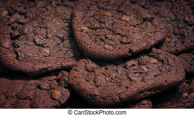Plate Of Chocolate Cookies - Closeup of double chocolate...