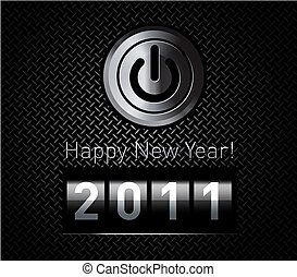 New Year counter 2011 on black metal pattern with power...