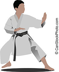 Karate. The sportsman in a positio