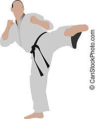 Karate The sportsman in a position Oriental combat sports...