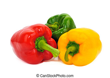 Coloured sweet paprika Yellow, red and green pepper