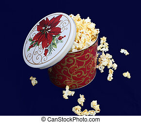 Gift Tin - Popcorn gift tin overflowing with popcorn