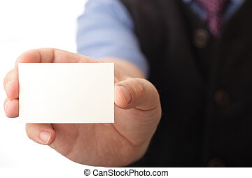 Blank business card in a hand - Businessman showing business...