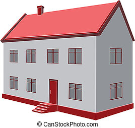 Vector. Home  - Vector. 3d home in color