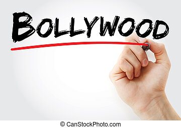 Hand writing Bollywood with marker, concept background
