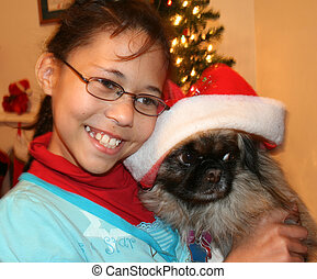Dog For Christmas - Child holding dog for Christmas