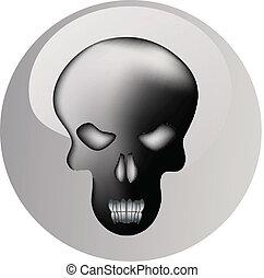 skull metal shiny icon button