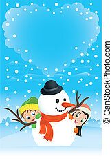 Illustration of a boy and girl hiding behind a snowman with...
